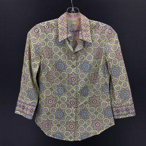 Robert Graham Womens Button Shirt Green Blue S